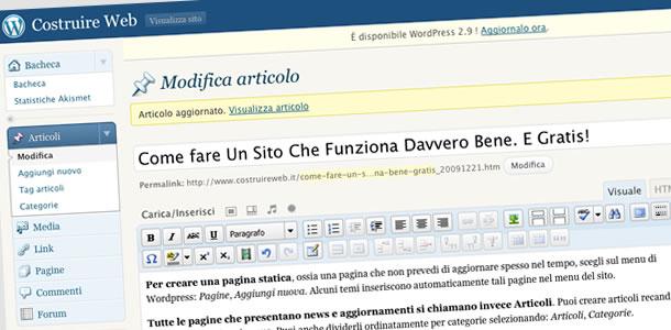 come fare un sito: pagine e articoli