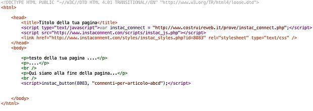 modulo commenti codice html