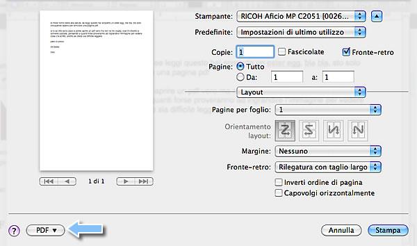 stampa in pdf con mac